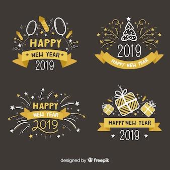 Collection d'étiquettes bonne année 2019