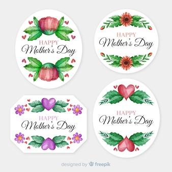 Collection d'étiquettes de bonne fête des mères