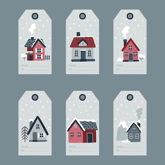 Collection d'étiquettes de cadeau de noël d'hiver illustration vectorielle avec des maisons confortables épinettes arbres montagnes