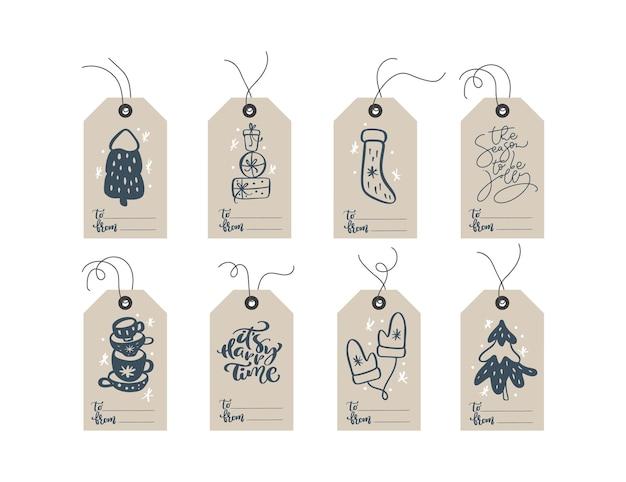 Collection d'étiquettes-cadeaux mignonnes prêtes à l'emploi de noël et du nouvel an ensemble d'étiquettes-cadeaux de noël avec des éléments dessinés à la main.