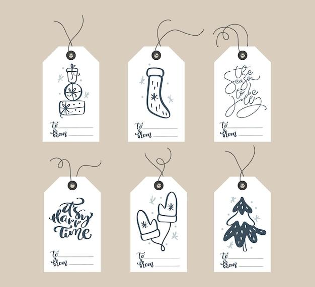 Collection d'étiquettes-cadeaux mignonnes prêtes à l'emploi pour noël et nouvel an