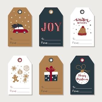 Collection d'étiquettes de cadeaux de noël dessinés à la main.