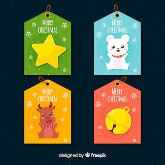 Collection d'étiquettes de cadeaux de noël