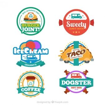 Collection d'étiquettes de camion alimentaire
