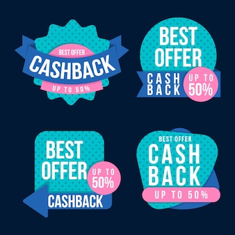 Collection d'étiquettes de cashback créatives