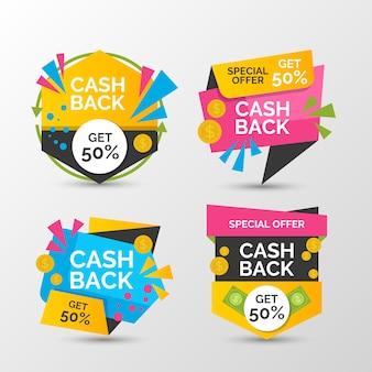 Collection d'étiquettes cashback avec remise