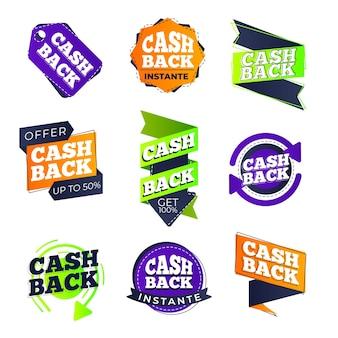 Collection d'étiquettes cashback
