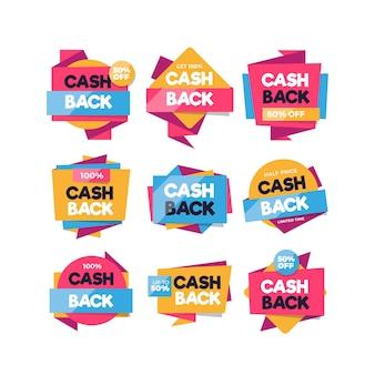 Collection d'étiquettes de cashback