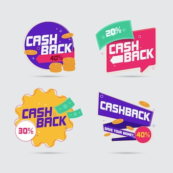 Collection d'étiquettes cashback