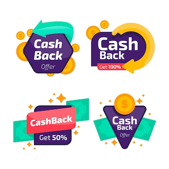 Collection d'étiquettes de cashback