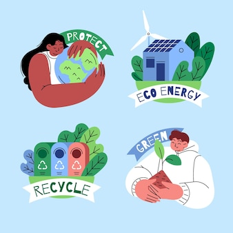 Collection d'étiquettes de changement climatique plat dessinés à la main