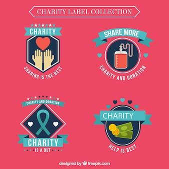 Collection d'étiquettes de charité décorative