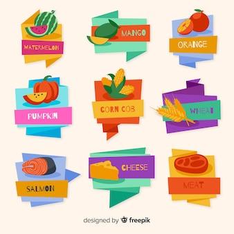 Collection d'étiquettes colorées d'aliments biologiques