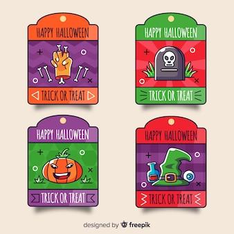 Collection d'étiquettes colorées d'halloween dessinés à la main