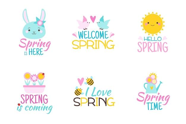 Collection d'étiquettes colorées de printemps