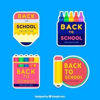 Collection d'étiquettes colorées de retour à l'école