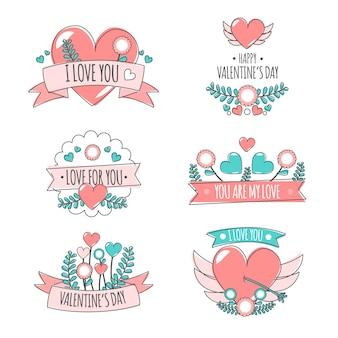Collection d'étiquettes colorées de la saint-valentin