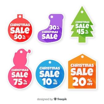Collection d'étiquettes colorées de vente de noël