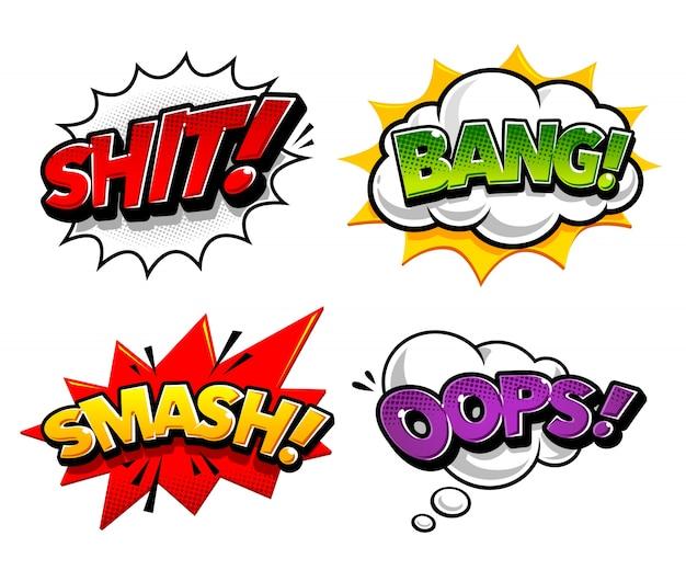 Collection d'étiquettes comiques colorées