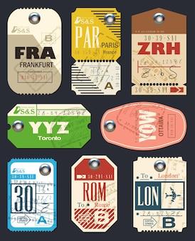 Collection d'étiquettes de compagnies aériennes. liste de contrôle pour les voyageurs.