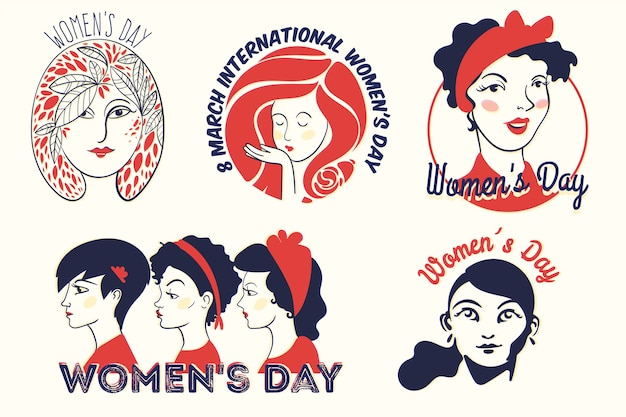Collection d'étiquettes avec le concept de la journée de la femme