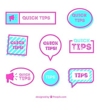 Collection d'étiquettes de conseils colorés avec un design plat