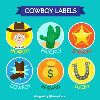 Collection d'étiquettes cowboy