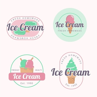 Collection d'étiquettes de crème glacée délicieuse