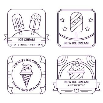Collection d'étiquettes de crème glacée plate linéaire