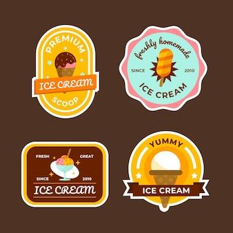 Collection d'étiquettes de crème glacée plate