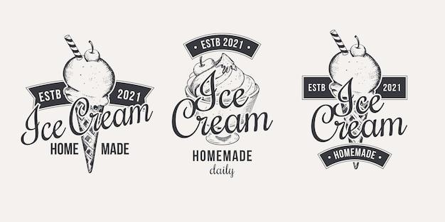 Collection d'étiquettes de crème glacée de style dessiné à la main