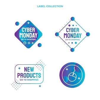 Collection d'étiquettes dégradées du cyber lundi