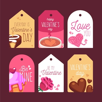 Collection d'étiquettes design plat saint valentin