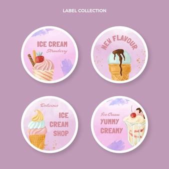 Collection d'étiquettes de dessert aquarelle