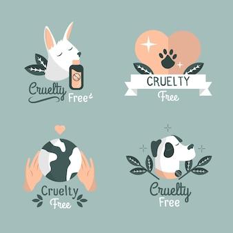Collection d'étiquettes dessinées à la main sans cruauté