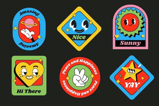 Collection d'étiquettes de dessins animés à la mode dessinés à la main