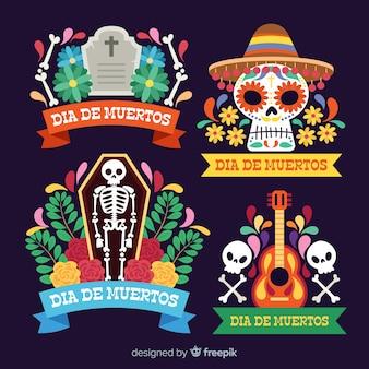 Collection d'étiquettes dia de muertos au design plat