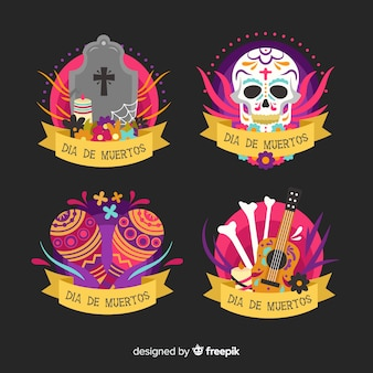 Collection d'étiquettes dia de muertos au design plat