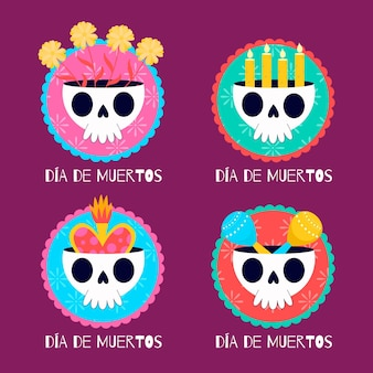 Collection d'étiquettes día de muertos au design plat