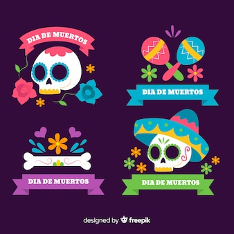 Collection d'étiquettes dia de muertos design plat