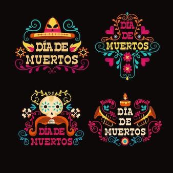 Collection d'étiquettes dia de muertos en design plat