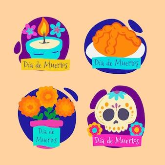 Collection d'étiquettes dia de muertos plates dessinées à la main