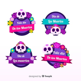 Collection d'étiquettes dia de muertos