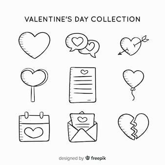 Collection d'étiquettes doodle valentin
