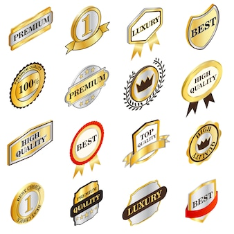 Collection d'étiquettes dorées dans un style 3d isométrique isolé sur fond blanc
