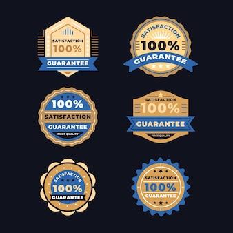 Collection d'étiquettes dorées avec ruban bleu garantie à 100%