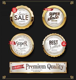 Collection d'étiquettes dorées vintage vintage rétro