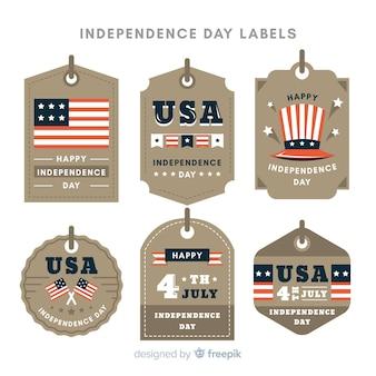 Collection d'étiquettes du 4 juillet