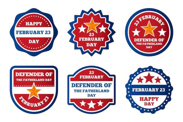Collection d'étiquettes du jour du défenseur de la patrie