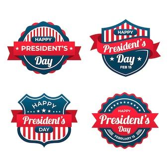 Collection d'étiquettes du jour du président